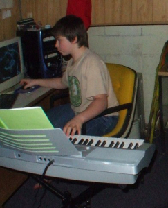 Young Tony using Casio CTK-4000 and old computer setup